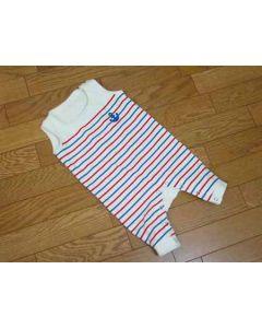 【お買い得セール】パネルボーダー生地で作る赤ちゃんつなぎ【サンプル制作で使用したカット済み型紙】と作り方