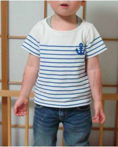 パネルボーダー生地で作る子供用半袖ボートネックTシャツ型紙と作り方