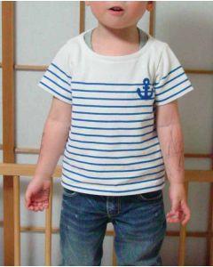 【お買い得セール】パネルボーダー生地で作る子供用半袖ボートネックTシャツ【サンプル制作で使用したカット済み型紙】と作り方
