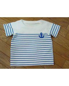 パネルボーダー生地で作る子供用半袖ボートネックTシャツ型紙と作り方【ダウンロード版】