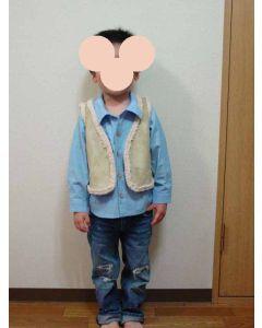フェイクムートンで作る子供用ベスト型紙【全サイズセットと作り方】