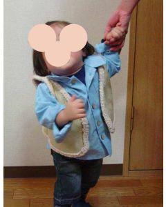 【お買い得セール】フェイクムートンで作る子供用ベスト【サンプル制作で使用したカット済み型紙2サイズセット】と作り方
