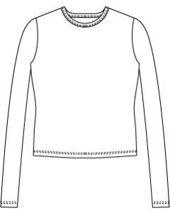 メンズサイズ・長袖UネックTシャツの型紙