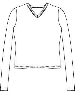 メンズサイズ・長袖VネックTシャツの型紙