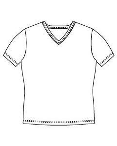 メンズサイズ・半袖VネックTシャツの型紙