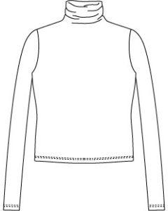 メンズサイズ・長袖ハイネックTシャツの型紙