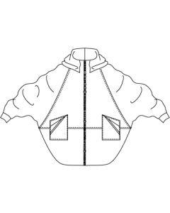スタンドフード付きドルマンコクーンコート型紙と作り方
