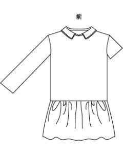 子供用ローウエストギャザー切り替えワンピース型紙と作り方【ダウンロード版】