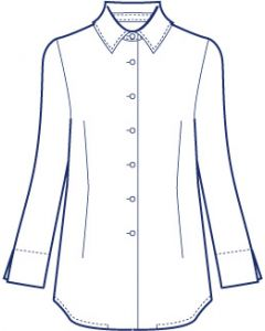 シンプル台衿付きシャツブラウス型紙(パターン)【ダウンロード版】