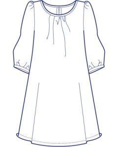 ラウンドネック7分袖ギャザーチュニック型紙(パターン)【ダウンロード版】