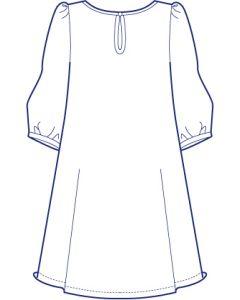 ラウンドネック7分袖ギャザーチュニック型紙(パターン)