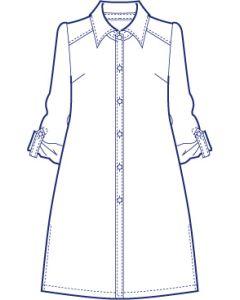 台衿付きロールアップ袖ロングシャツブラウス型紙(パターン)【ダウンロード版】