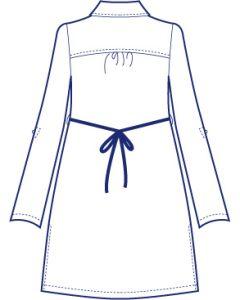台衿付きロールアップ袖ロングシャツブラウス型紙(パターン)