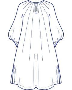 ヨーク付きラグランタックチュニック型紙(パターン)