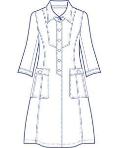 台衿付きロングシャツブラウス型紙(パターン)【ダウンロード版】