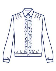 肩タック前立てフリルブラウス型紙(パターン)