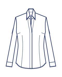 比翼仕立て高め台衿シャツブラウス型紙(パターン)