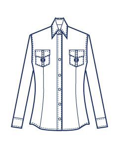 フラップポケット付きウエストダーツシャツブラウス型紙(パターン)