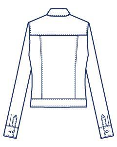 フラップポケット付きヨーク切り替え4面体シャツブラウス型紙(パターン)【ダウンロード版】