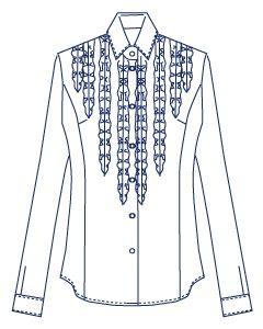 4面体フリルシャツブラウス型紙(パターン)