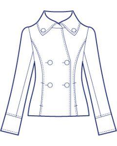 大きめ衿の総裏ショートコート型紙(パターン)【ダウンロード版】