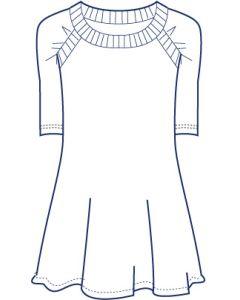 ラグランギャザー袖カットソーチュニック型紙(パターン)
