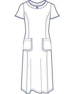 衿ぐり切替半袖ワンピース型紙(パターン)