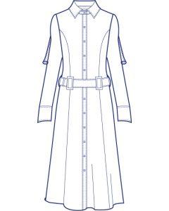 ストレッチ長袖シャツワンピース型紙(パターン)