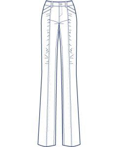 クリーズラインギャザー総裏ストレッチパンツ型紙(パターン)