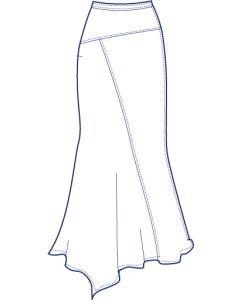 アシンメトリー総裏フレアースカート型紙(パターン)