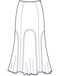 6枚接ぎ総裏別布切替フレアーストレッチスカート型紙(パターン)