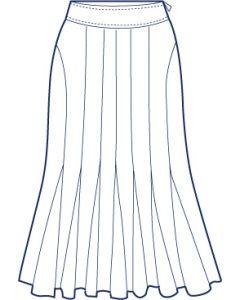 12枚接ぎ脇切替+マチ付き総裏フレアースカート型紙(パターン)
